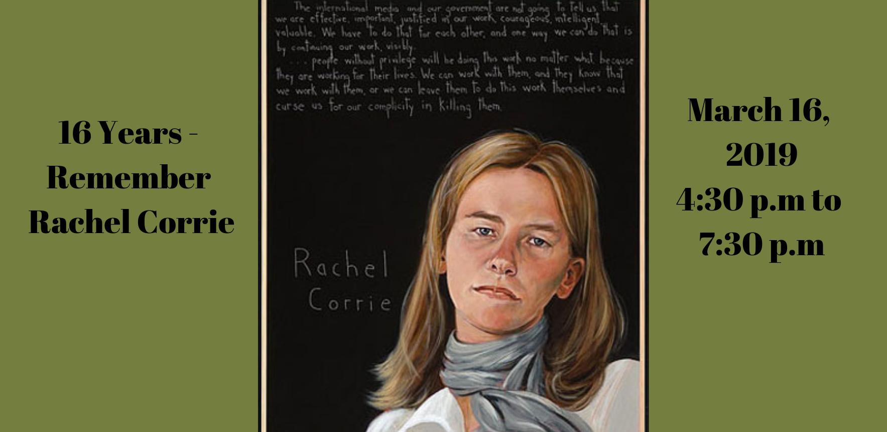 16 Years - Remembering Rachel Corrie: Bridging the Issues image