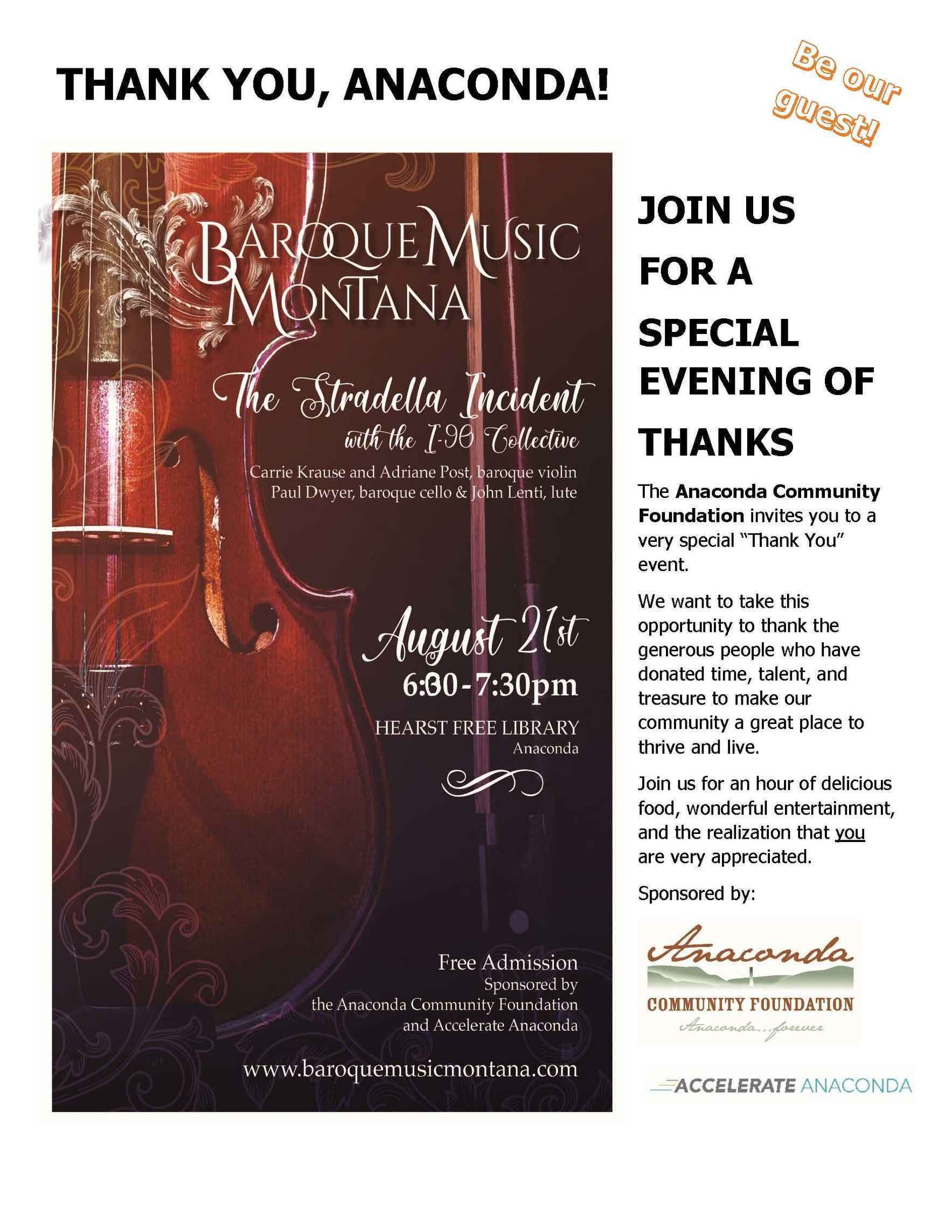 Baroque Music Montana: A Thank You Event image