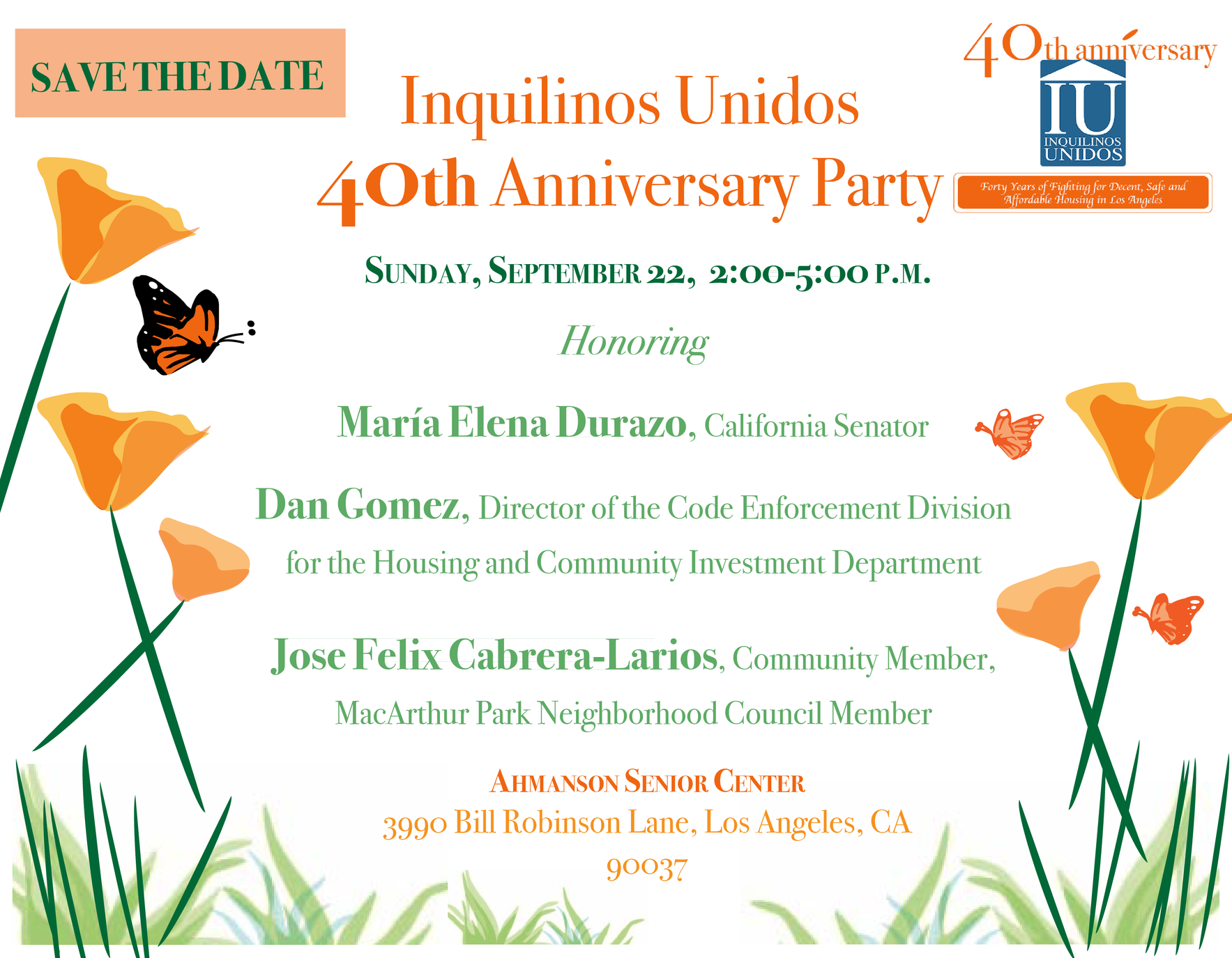 Inquilinos Unidos 40th Anniversary Garden Party image
