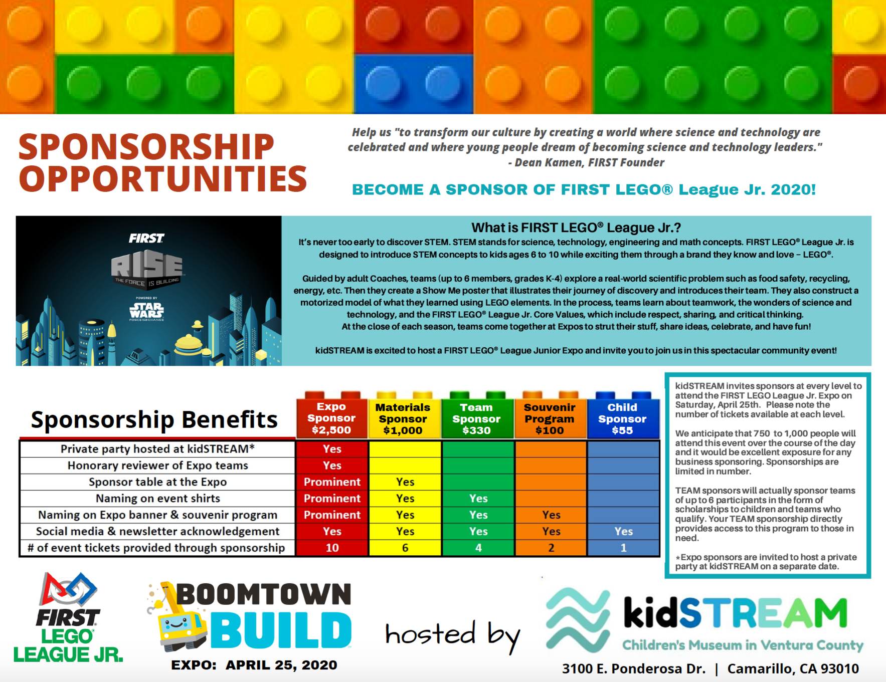 FIRST LEGO League Jr 2020 - Sponsorship image