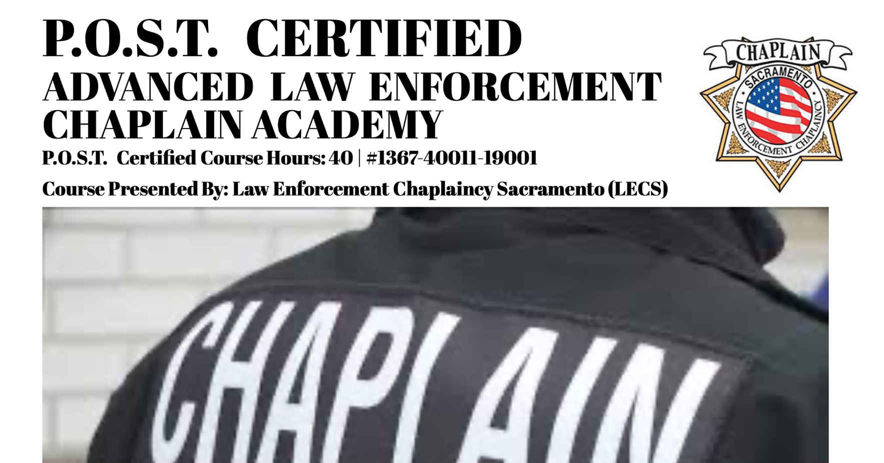 P.O.S.T. Advanced Law Enforcement Chaplain Training image