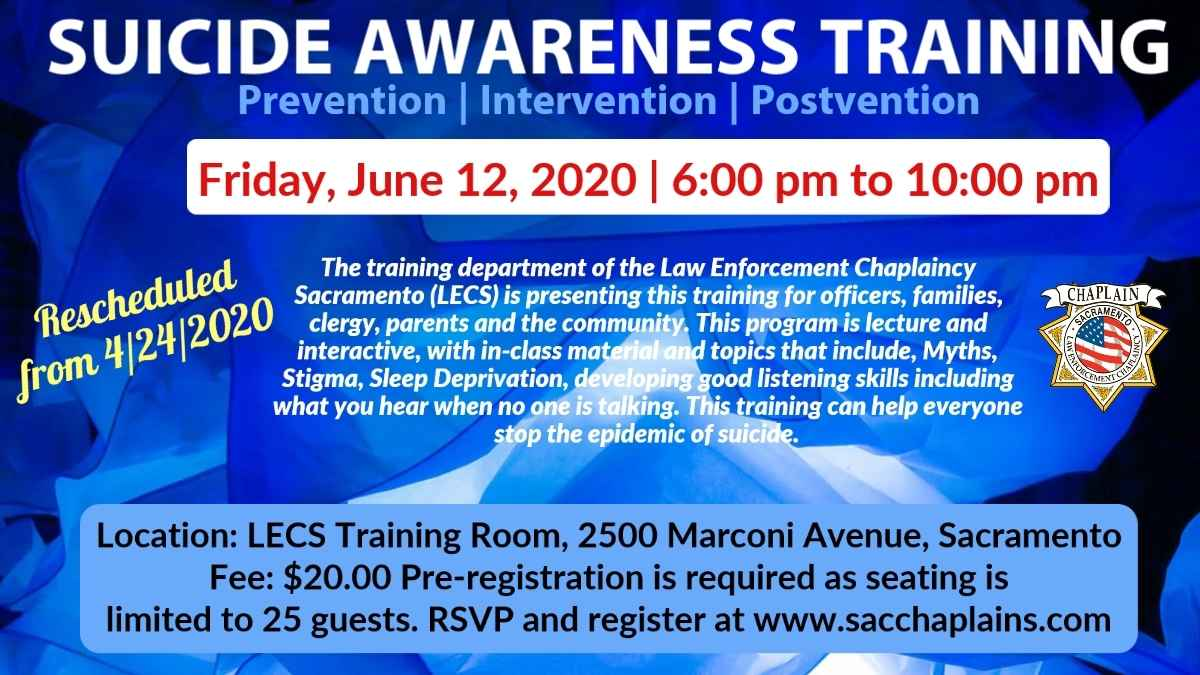 SUICIDE AWARENESS TRAINING - RESCHEDULED DUE TO COVID-19 TO JUNE 12 image