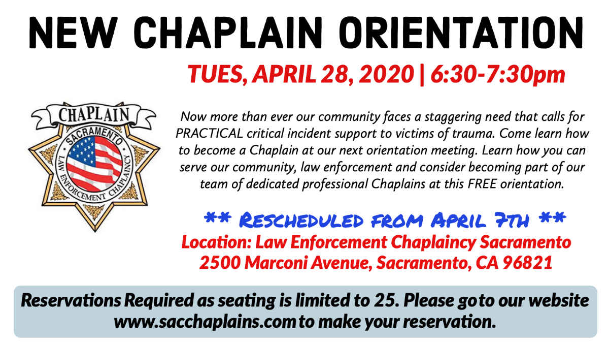 NEW CHAPLAIN ORIENTATION - RESCHEDULED DUE TO COVID-19 image