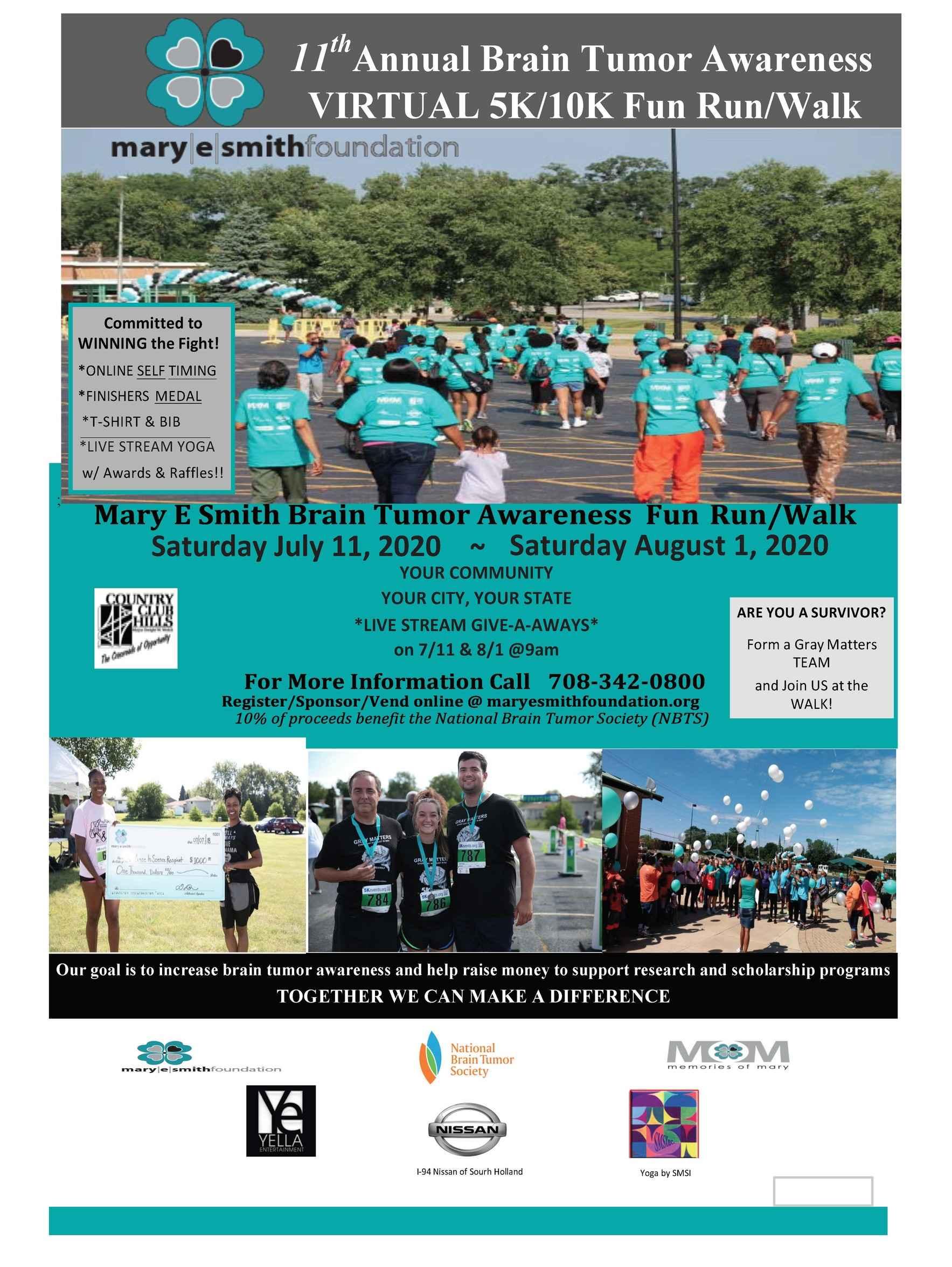 11th Mary E. Smith Brain Tumor Awareness VIRTUAL 5K/10K Fun Run/Walk image