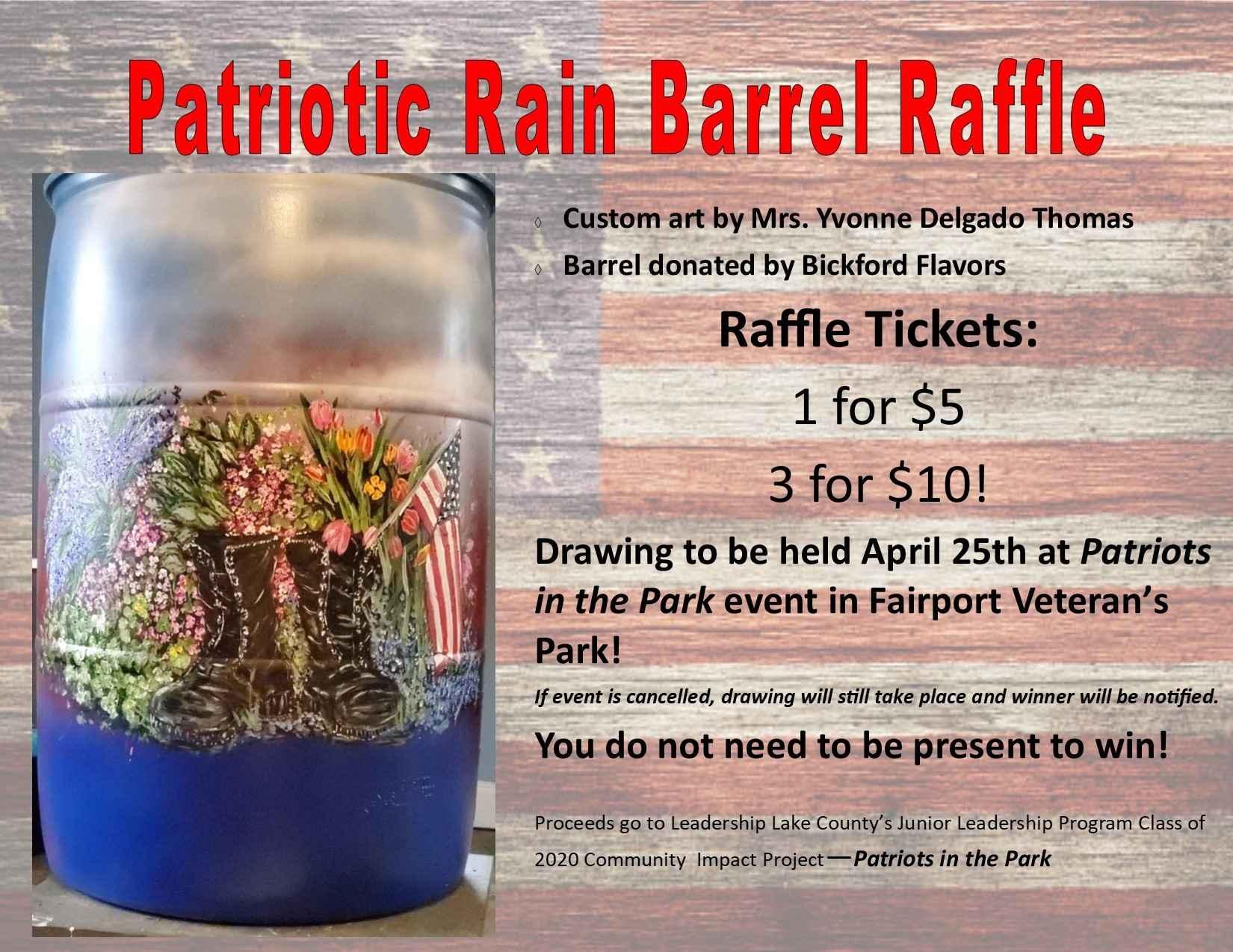 Patriotic Rain Barrel Raffle image