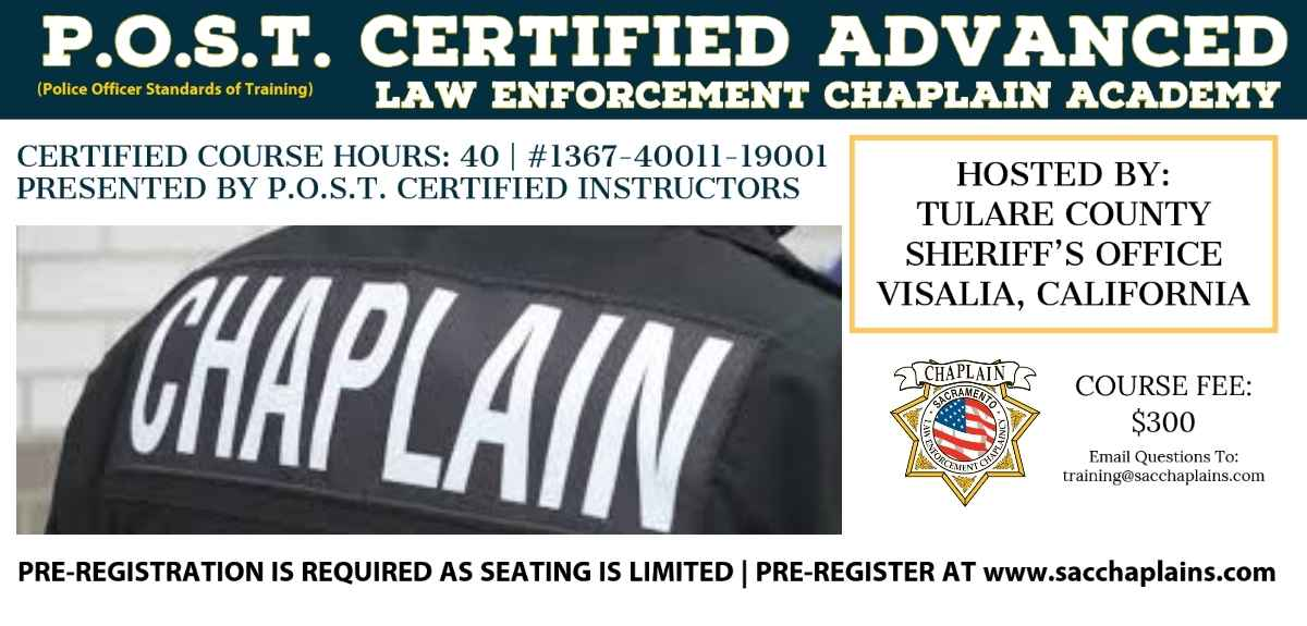 P.O.S.T. CERTIFIED ADVANCED LAW ENFORCEMENT CHAPLAIN ACADEMY (TULARE) image