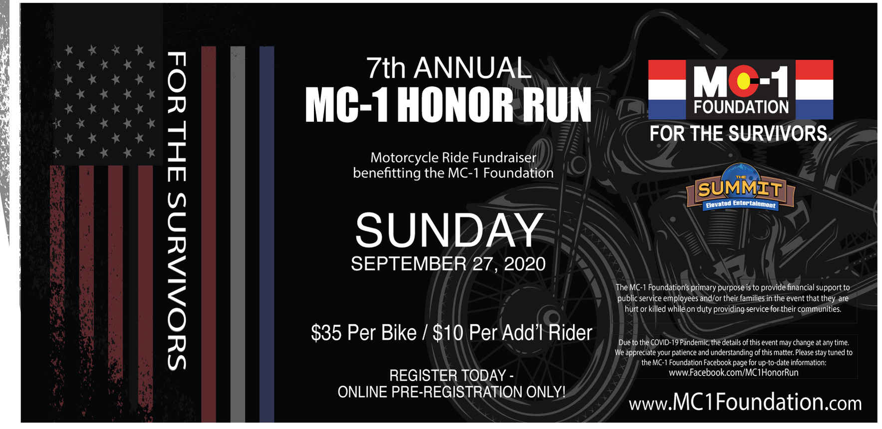 7th Annual MC-1 FOUNDATION HONOR RUN Motorcycle Ride Fundraiser image