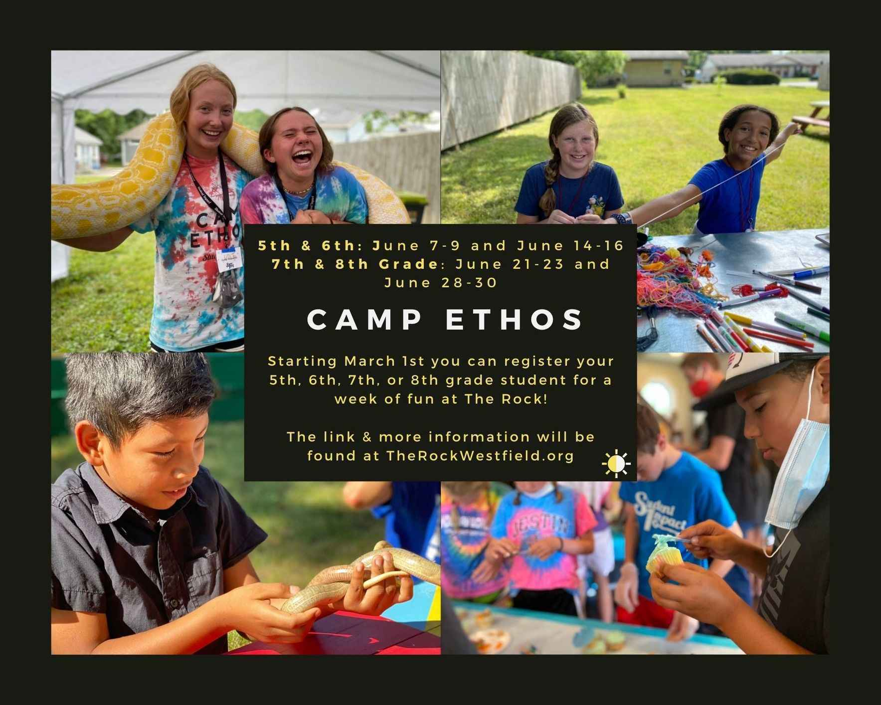 Camp Ethos June 21-23, 2021 Incoming 7th and 8th graders  image
