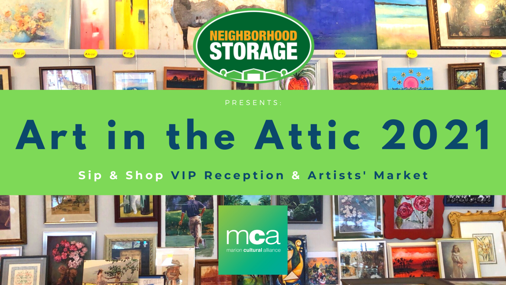 Sip & Shop - Art in the Attic 2021 VIP Party & Artists' Market image