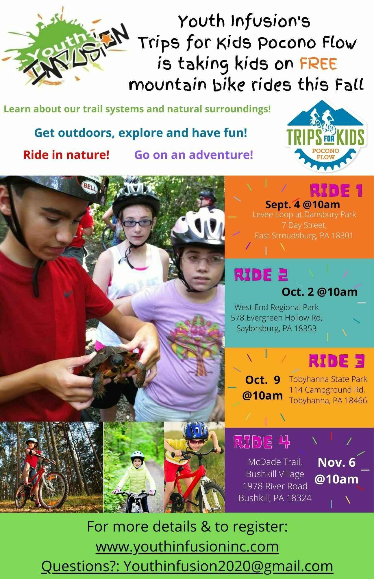 TAKE A KID MOUNTAIN BIKING DAY - FREE Trips for Kids Pocono Flow Trail Ride - Saturday, October 2, 2021 image