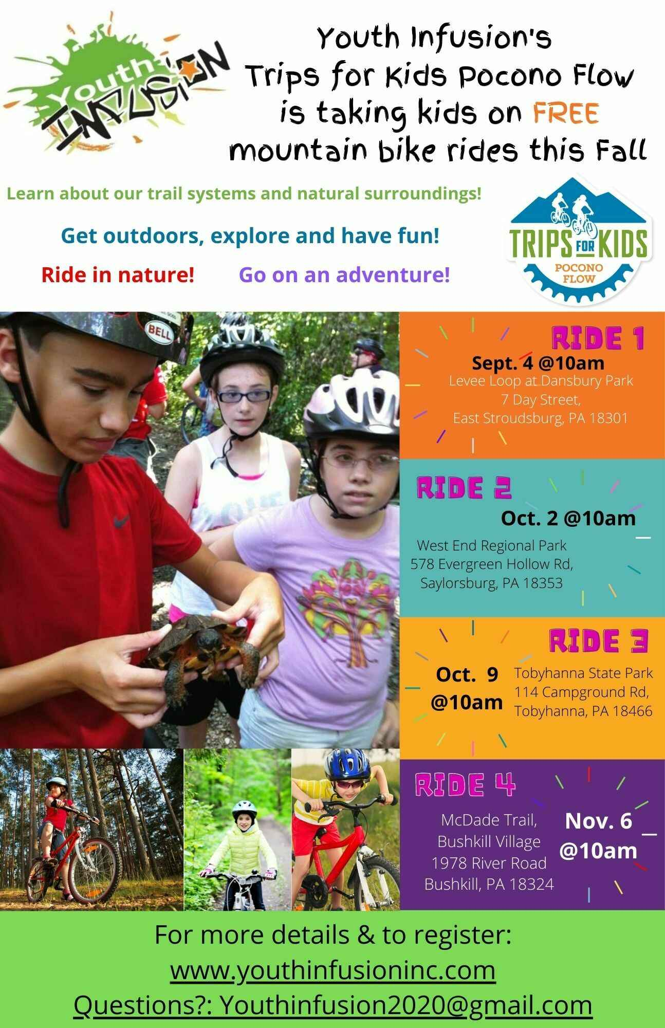 FREE Trips for Kids Pocono Flow Trail Ride - Saturday, October 9, 2021 image
