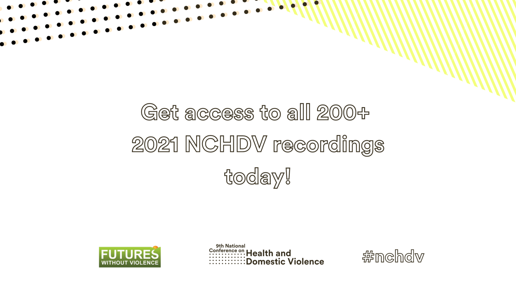 Watch recordings of all sessions from the 2021 NCHDV! image