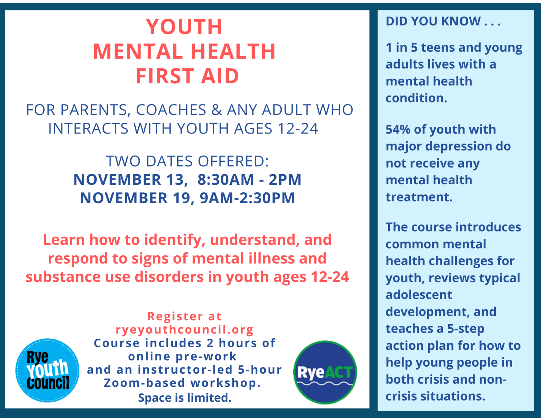 Youth Mental Health First Aid Courses for Adults image