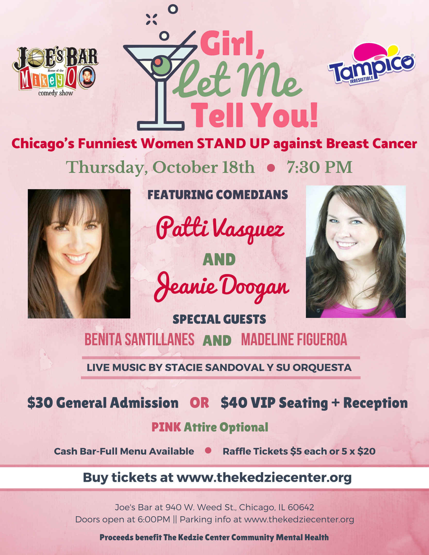 """Girl, Let Me Tell You!"" -Chicago's Funniest Women STAND UP Against Breast Cancer image"