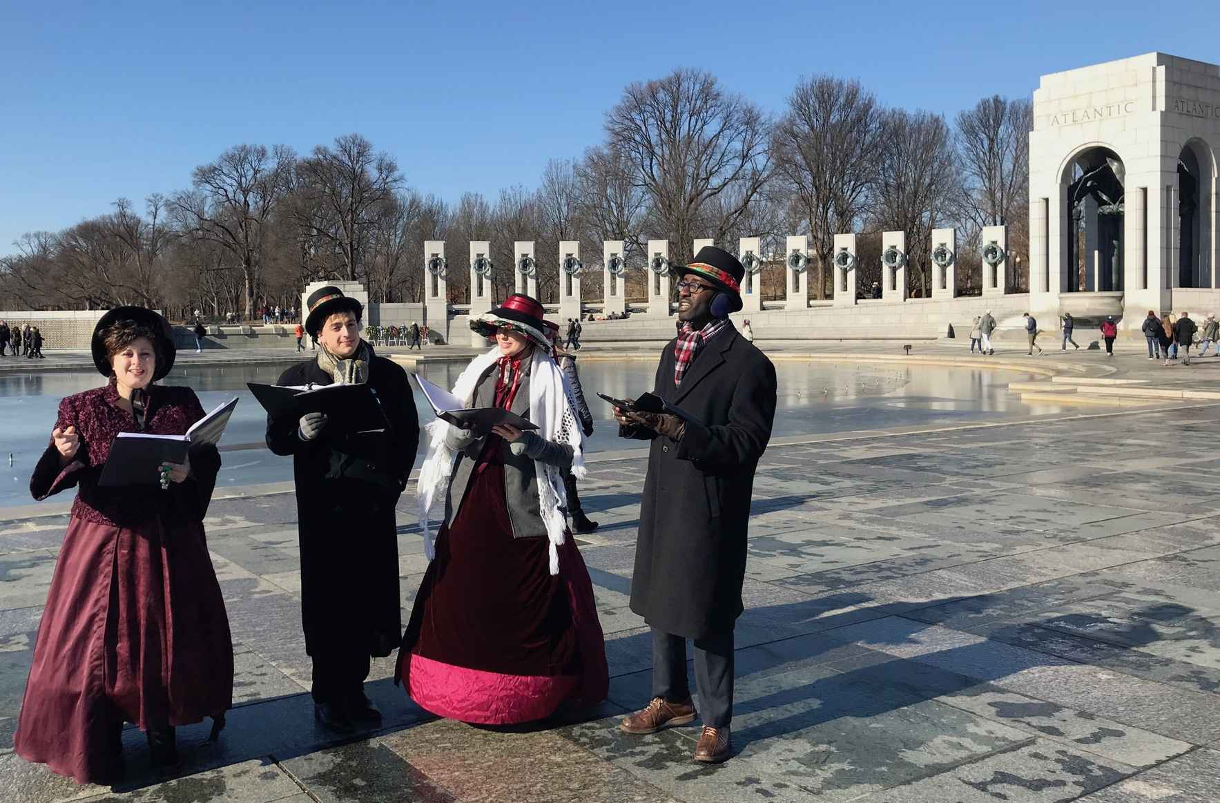 Christmas Caroling at the WWII Memorial! image