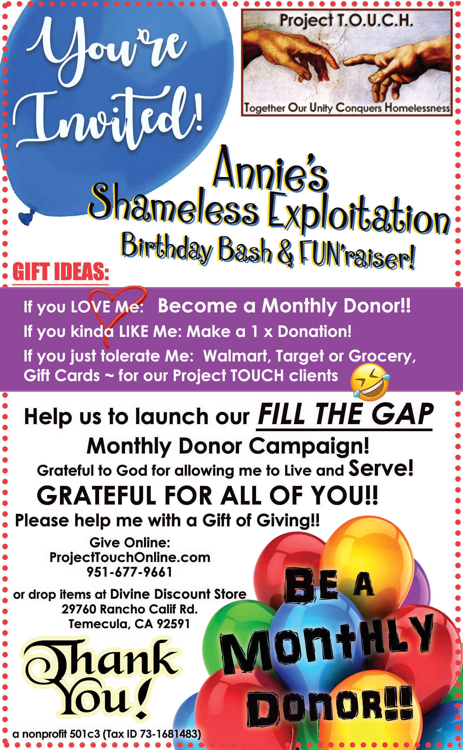 Help Me Celebrate - Become a Monthly Donor!! image