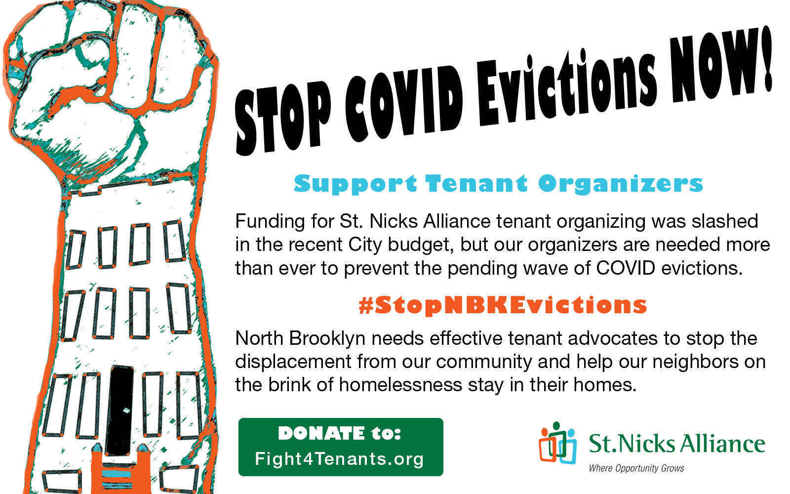 STOP COVID EVICTIONS:  St. Nicks Alliance Tenant Advocacy Fund image