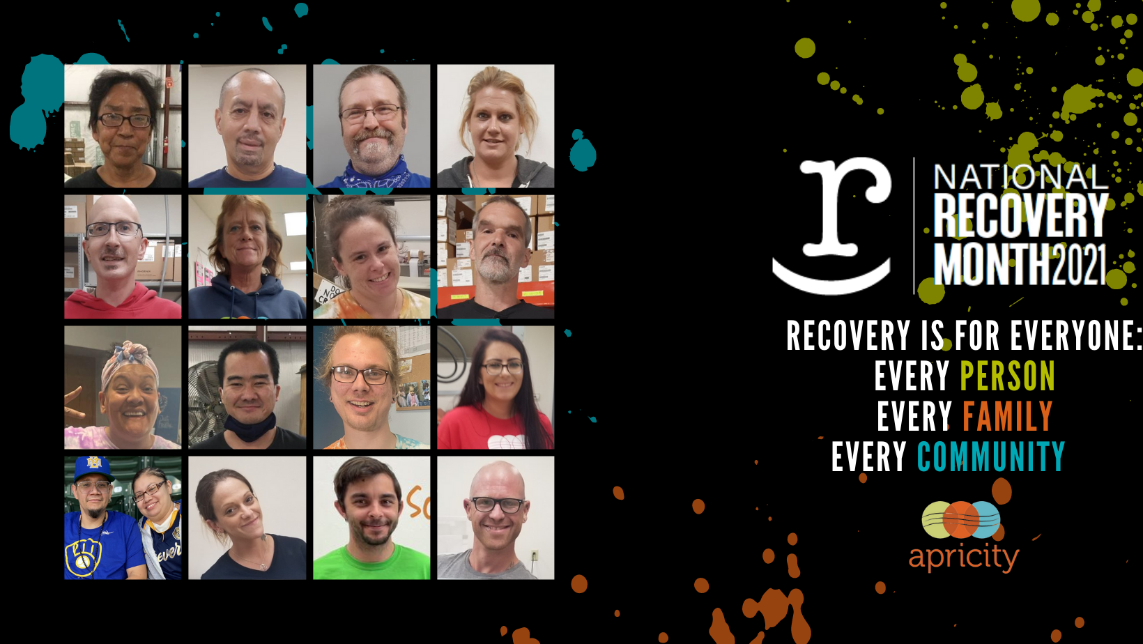 Support Recovery and Change A Life Today! All gifts DOUBLED UP TO $20,000 through 9/30/21. Click the DONATE button or send a gift: Apricity, 1010 Strohmeyer Dr.,  ATTN: Recovery Month, Neenah, WI 54956  (Scroll down for more details.) image