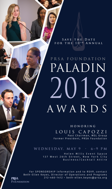 PRSA Foundation's 2018 Paladin Awards Honors Louis Capozzi image