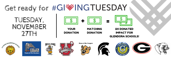Give to our Glendora schools on #GivingTuesday and DOUBLE your impact! image