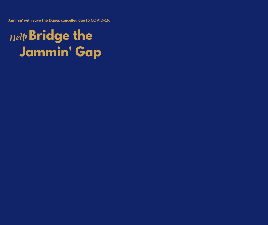 Please make a one-time donation to help 'bridge the gap' for critical funds lost due to the cancellation of our annual fundraiser Jammin'. Every donation of $50 or more will receive a free Jammin' T-shirt.  image