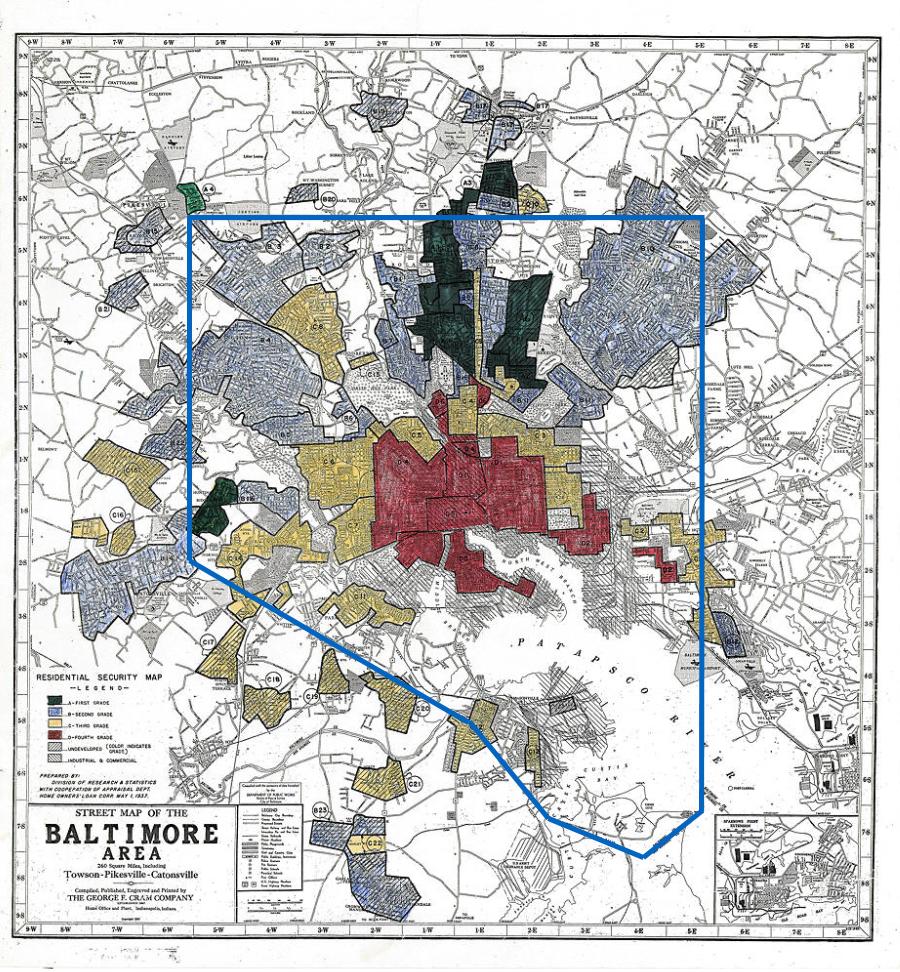 Map of Redlinning, 1937