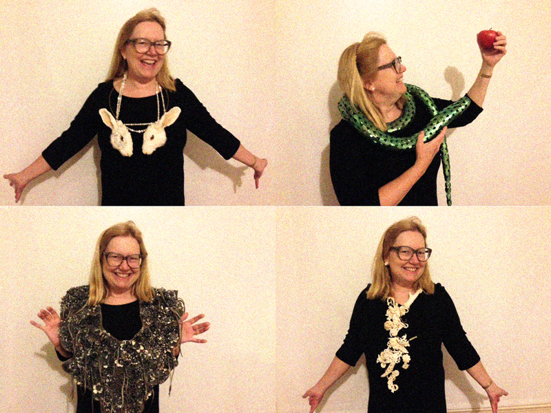 Marion Fulk wearing pieces by (clockwise, from top left): Idiots, David Bielander, Jennifer Trask, and Hanna Hedman, photo: Laura Smoller